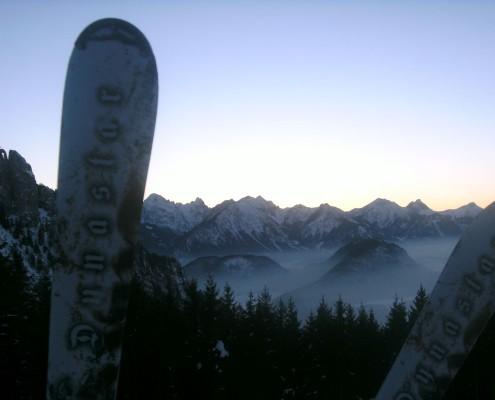 Aussicht bei einer Skitour im Allgäu