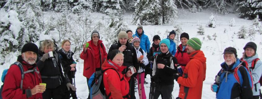 Pause bei unserer geführten Schneeschuhtour