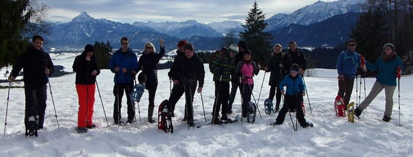 Schneeschuwandern im Allgäu am 3. Januar