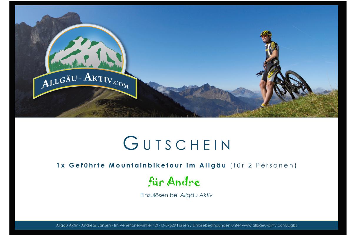 Gutschein für eine geführte Mountainbiketour