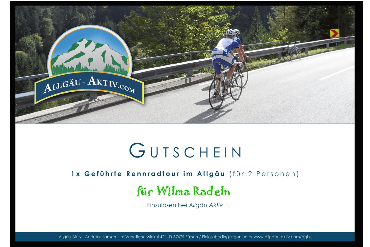 Gutschein für eine geführte Rennradtour