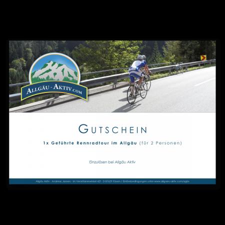 Gutschein über eine geführte Rennradtour im Allgäu
